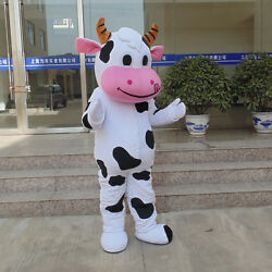 Halloween Cow Mascot Costume Cosplay Party Dress Adults Size Unisex Animal Suits