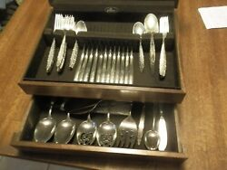 69 PIECES LUNT STERLING SILVER FLATWARE LACE POINT W CHESTERA 1965 MINT COND.