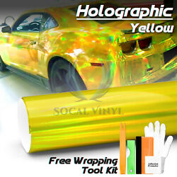 *Yellow Holographic Rainbow Neo Chrome Car Vinyl Wrap Sticker Decal Air Release