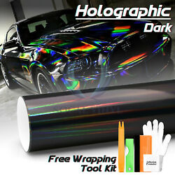 *Dark Holographic Rainbow Neo Chrome Car Vinyl Wrap Sticker Decal Air Release