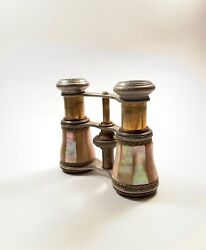 Antique Chevalier Mother of Pearl Opera Glasses Made in Paris