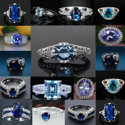 925 Sterling Silver Blue Sapphire Rings Women Fashion Rings Jewelry Size#6-10