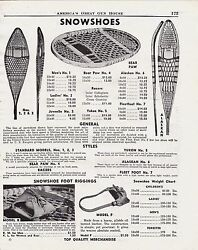 1950 Antique SNOWSHOES AD Bear Paw amp; Alaskan shown w foot riggings all prices $12.99