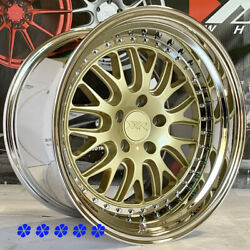 XXR 570 Wheels Gold Deep Lip Rims 18 x9.5 10.5 +20 Staggered 5x114.3 Inch (Set 4