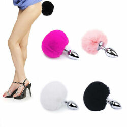 Adult Sexy Fluffy Fur Bunny Rabbit Tail Plug Cosplay Metal Stopper Butt