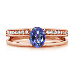 1.66 Ct Oval Blue Mystic Topaz 18K Rose Gold Plated Silver Ring
