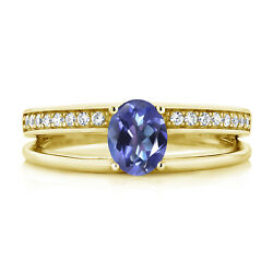 1.66 Ct Oval Blue Mystic Topaz 18K Yellow Gold Plated Silver Ring