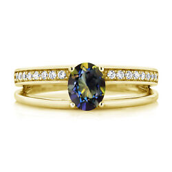 0.96 Ct Oval Blue Mystic Topaz 18K Yellow Gold Plated Silver Ring
