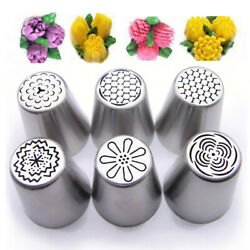 6Pcs Russian Tulip Flower Cake Icing Piping Nozzles Decorating Tip Baking Set CY $4.46