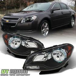 Black 2008-2012 Chevy Malibu Headlights Headlamps 08 09 10 11 12 Pair Left+Right $125.99