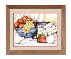 Apples Grapes Flowers Kitchen Contemporary Wall Picture Honey Framed Art Print $59.97