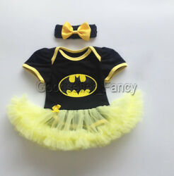 US Stock Newborn Baby Girl Batman Romper Bodysuit Tutu Dress Skirt Party Clothes