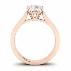 Rose Gold Vintage Tapered Cathedral Round Diamond Engagement Ring - 2.00 ct DSI