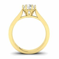 Yellow Gold Vintage Tapered Cathedral Round Diamond Engagement Ring - 2.00 ct D