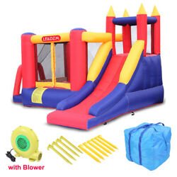 Safety Three Play Areas Inflatable Bounce House Kids Castle Slide with Blower $218.99