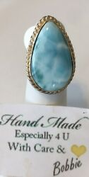 Amazing  handcrafted AAA Larimar   ring   925 silver size 8