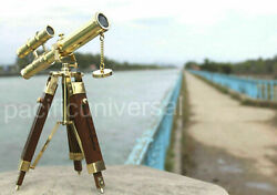 antique brass mini Double barrel 10#x27;#x27; telescope wooden tripod new handmade style $36.65
