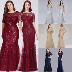 US Ever-Pretty Plus Size Long Sequins Evening Gowns Mermaid Celebrity Prom Dress $39.49