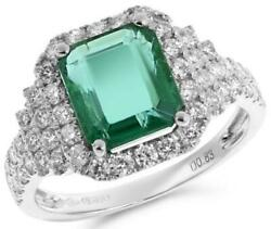 LARGE 3.42CT DIAMOND & AAA EMERALD 18K WHITE GOLD SQUARE & ROUND ENGAGEMENT RING