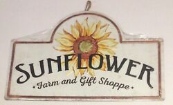 Sunflower Farm and Gift Shoppe Tin Metal Sign 12.8 in. x 20 in. Wall Home Decor $35.99