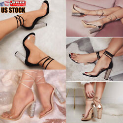 Womens Block High Heel Sandals Ladies Strappy Sexy Club Party Ankle Strap Shoes