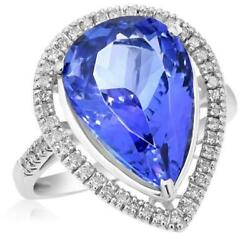 LARGE 8.16CT DIAMOND & AAA TANZANITE 18KT WHITE GOLD PEAR SHAPE ENGAGEMENT RING