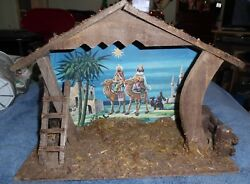 BIG Wooden Musical Nativity Creche Stable Made in ITALY Music Box Silent Night
