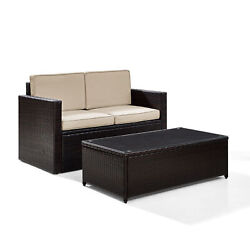Palm Harbor 2 Piece Outdoor Wicker Seating Set With Sand Cushions - Loveseat ...