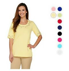 QUACKER FACTORY Smile N'Style Scalloped Elbow Sleeve Tee Many Sizes 290824RM
