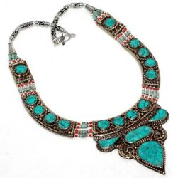 E4561 Turquoise Red Coral 925 Sterling Silver Plated Tribal Necklace 15