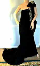 MARCHESA Crystal Embellished Black Long Maxi Dress Evening Gown IT 42 US 6 $2249.10
