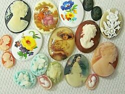 * SALE* CAMEOS HUGE VTG LOT 40x30mm ACRYLIC RESIN FINDINGS JEWELRY REPAIR CRAFTS
