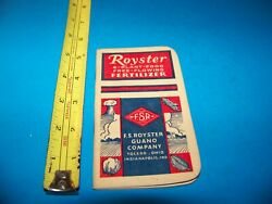 Royster Fertilizer quot;Daily Reminderquot; Memo Booklet 1951 F.S. Royster Guano Comp. $4.25