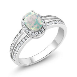 1.60 Ct Oval Cabochon White Simulated Opal 925 Sterling Silver Ring