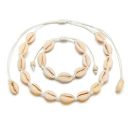 2Pcs Natural Cowrie Shell Necklace Bracelet Bohemian Cowry Seashell Jewelry Set