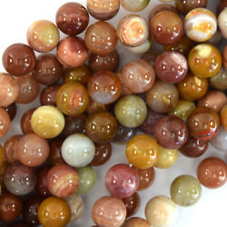 Natural Gold Brown Agate Round Beads Gemstone 15