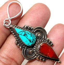 C10248 Turquoise Red Coral 925 Sterling Silver Plated Tribal Pendant 2.6
