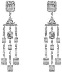 2.33CT DIAMOND 14KT WHITE GOLD 3D ROUND AND BAGUETTE CHANDELIER HANGING EARRINGS