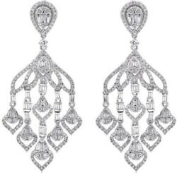 LARGE 2.06CT DIAMOND 18K WHITE GOLD ROUND & BAGUETTE CHANDELIER HANGING EARRINGS