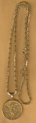 ITALY GOLD NECK CHAIN WITH MEXICO 50 PESO BEZEL SET WEIGH  94.3 grams GOLD