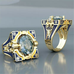 Women Vintage 18K Gold Plated Topaz Band Ring Party Wedding Jewelry Size 6-10