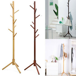 Solid Wooden Coat Rack Hat Hanger Hooks Hall Entryway Jacket Umbrella Tree Stand