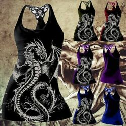 Women's Gothic Black Dragon Print Tank Top Casual Sleeveless Vest Summer Shirt