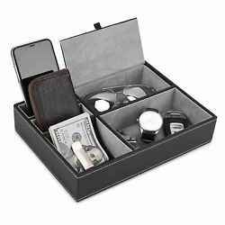 Valet Tray 5 Compartments Pu Leather Dresser Valet Organizer For Watches And Je