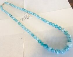 Amazing handcrafted AAA HUGE Larimar Ball Necklace 925 silver EXTRA LONG