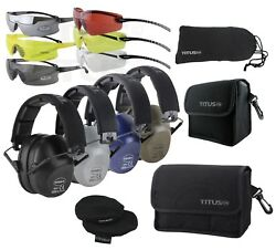 TITUS 2 Series Low Pro 34 NRR Ear Protection Safety Glasses Shooting Range PPE * $15.99