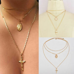 1pcs Necklace Multilayer Triple Pendant Choker Chain Mary Cross Virgin Jewelry