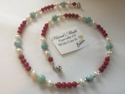 Amazing handcrafted AAA Larimar Red Coral Freshwater Pearl Necklace 925 silver