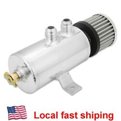 AN10 Polished Aluminum Oil Catch Can Reservoir Tank W Breather Filter Baffled $29.95
