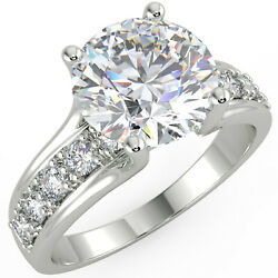 2.33 Ct Round Cut VVS2F Solitaire Pave Diamond Engagement Ring 14K White Gold